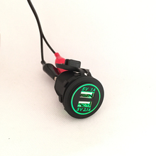DIY 12V - 24V Dual USB Car Charger Power Outlet 1A & 2.1A for Ipad Iphone Car Boat Marine Mobile LED Light Blue Red Green Orange(China (Mainland))
