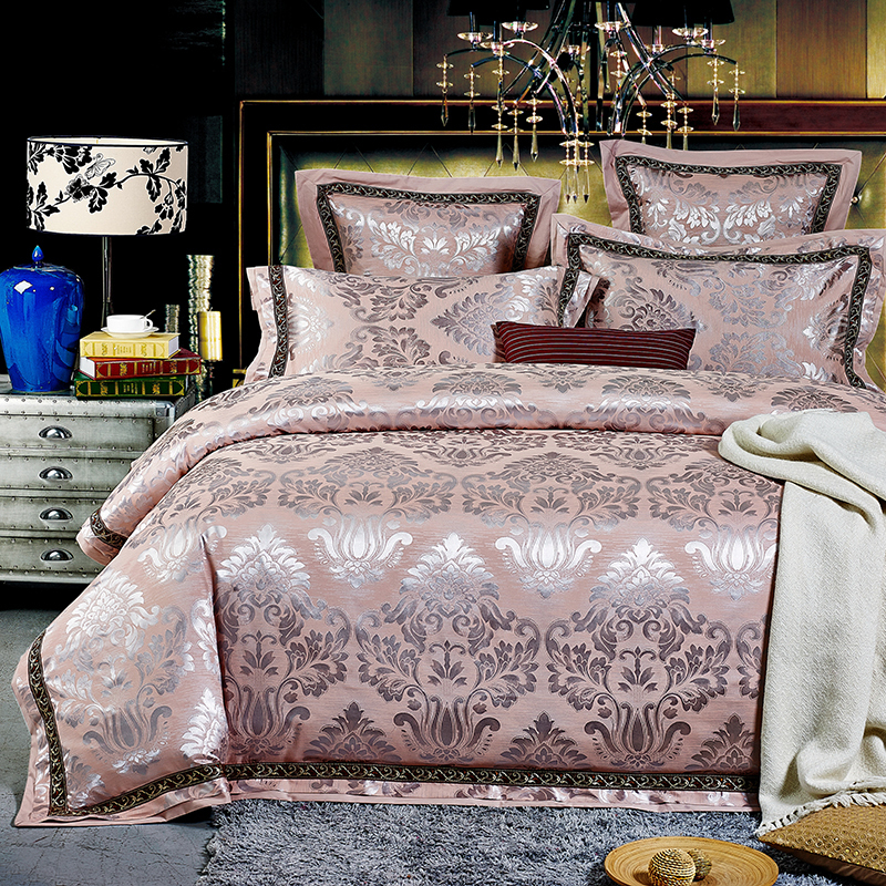 luxury jacquard satin pink bedding comforter set king queen size duvet cover bedspread bed in. Black Bedroom Furniture Sets. Home Design Ideas