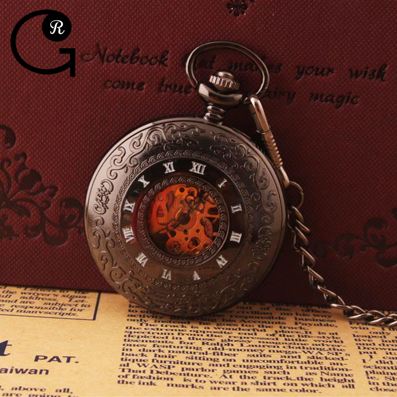 GR Black Women Watch Mechanical Hand Wind Pocket Watch Hollow Roman Numeral Skeleton Watch Pocket Chain and Gift Box <br><br>Aliexpress