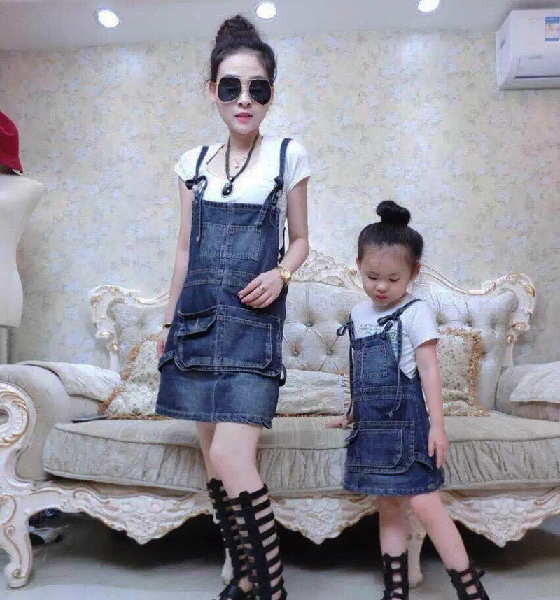 Upscale  Mother Daughter Dresses Family Matching Outfits Family clothing Denim Overalls Dress Mother Daughter Skirts  Dresses <br><br>Aliexpress