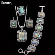 Fashion Jewelry Vintage Look  Antique Silver Plated Necklace Bracelet Earring Flower Shell Bead Jewelry Set TS170(China (Mainland))