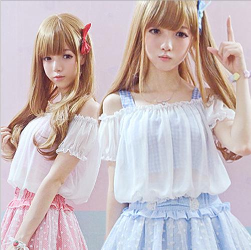 Women summer tops 2 pieces set Bare Midriff White Chiffon blouse Plaid Tanks Crop Top Lace Short sleeve Twinset Cute Sexy Shirts(China (Mainland))