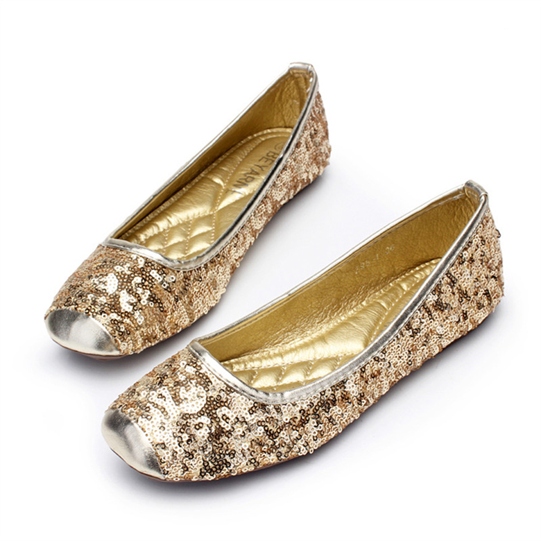 2016 New Womens Casual Loafers Shoes Classic sequins Square Toe Shoes Comfortable Flats Dress Party Shoes Womens Flat Shoes <br><br>Aliexpress