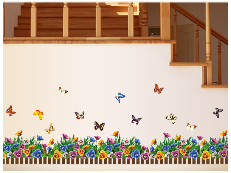 2016 DIY Removable Skirting Line Vinyl Big Wall Sticker Flowers Butterflies Tree Wallpaper Living Room Decorate Glass Wall Decal(China (Mainland))