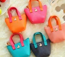 Free ship!1lot=16pc!Candy color small Purse / women Key storage Bag / cartoon creative Pu hand mini wallet/pencil bag(China (Mainland))