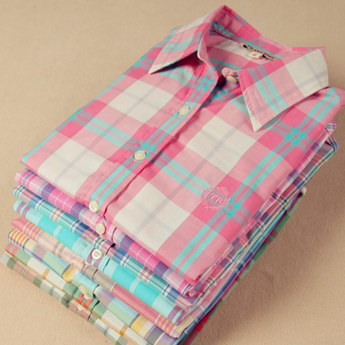 LZ Spring 2015 women clothing girls sweet fashion preppy style small fresh 100% cotton plaid shirt female long-sleeve blouses  -  fashion store