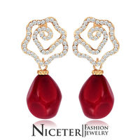NICETER High Quality Coral Flower Brincos Jewelry For Bridal Wedding Earrings Micro CZ Paved Earrings Wholsale