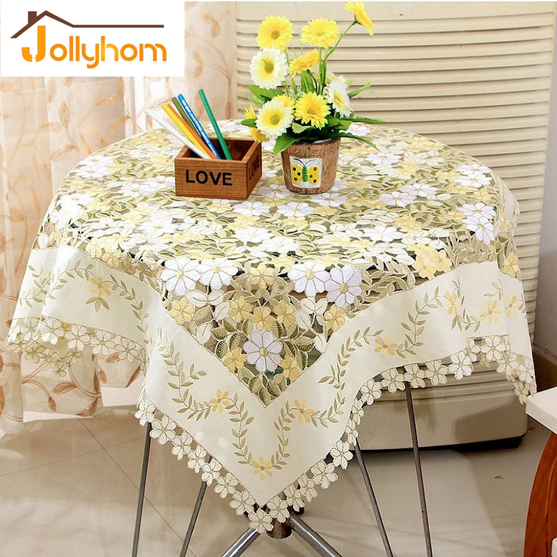 New Hollow-out Design Square Tablecloth Embroidery Handmade Cutwork Tablecover Tea or Coffee Table Cover for Round Table (1pc)(China (Mainland))