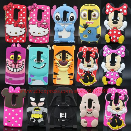 For LG Leon 4G LTE H340N H324 C50 3D Stitch Minions Minnie Mouse Sulley Tiger Hello Kitty Design Silicone Cell Phone Case Cover(China (Mainland))