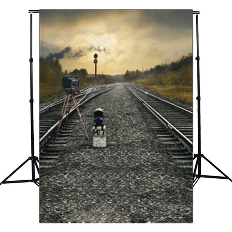 3x5ft Train Road Railway Track Camera Theme Photography Backdrop Studio Photo Props Thin vinyl Photographic Background Cloth(China (Mainland))