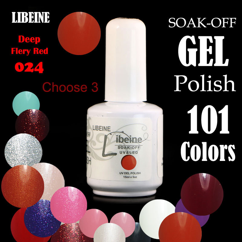 New 100 Colors Choose 3 by Libeine Nail art Solid Pure Color UV GEL Nail Gel Colorful Gel 15ml Free shipping #024 Fiery Red(China (Mainland))