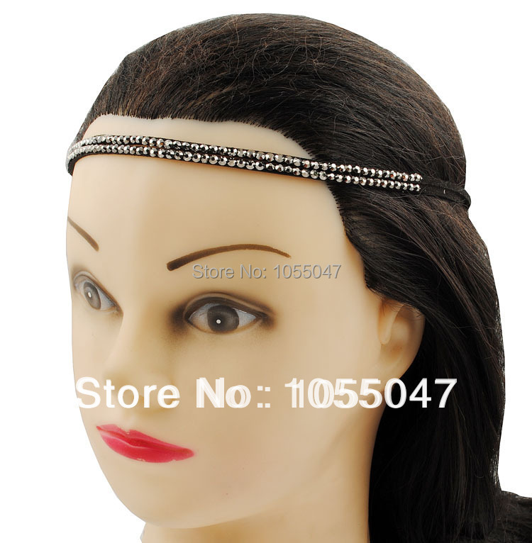 2015 Real Promotion Solid Adult Acessorios Para Cabelo free Shipping Double Rows Imitation Suede Headwrap with Stones , $1.25/pc(China (Mainland))