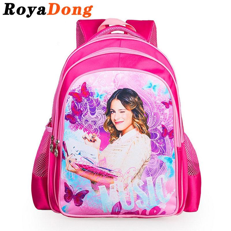 RoyaDong Children School Bags For Girls Kids Bag Violertta Princess Cartoon Backpack 2016 Mochila Escolar Sac A Dos Enfant(China (Mainland))