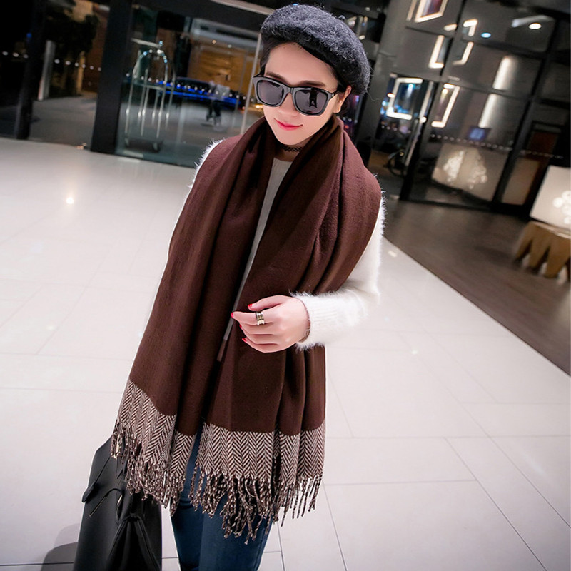2016 New Brand Women Winter Poncho Scarves Vintage Blanket Ladies Knit Tassel Shawl Cape Cashmere Fleece Thick Scarf Poncho