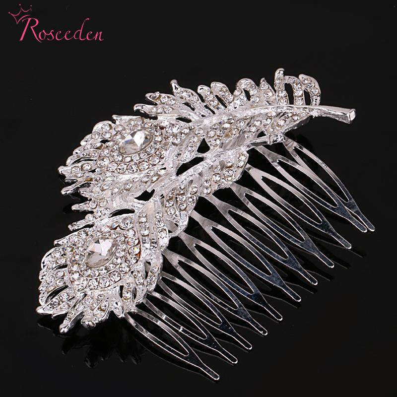 Hot Sale!!Design Peacock Feathers Women Hair Combs New Silver Plated Romantic Style Hairpin Bridal Jewelry Accessories RE227(China (Mainland))