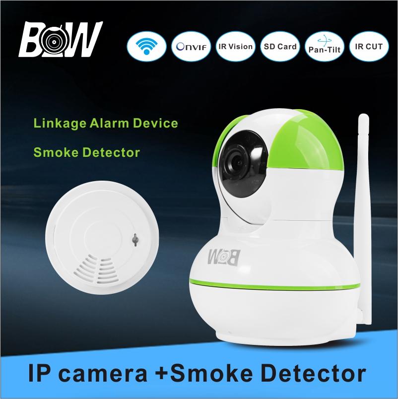 Network Wireless Camera IP Video Surveillance Camera + Smoke Detector CCTV Camera P2P Baby Monitor System Alarm Security BW12GR(China (Mainland))