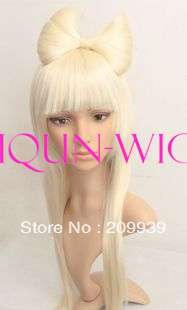 dj 0075 Lady Gaga Style Long Light Blonde womens full hair wig wigs + Big Bow 5.2(China (Mainland))
