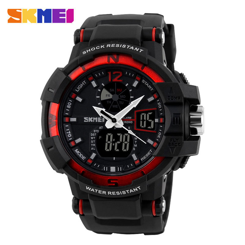 Reloj Hombre Skmei Red Color Mens Sports Watch Shock Resist Army Military Watch LED Digital Watch