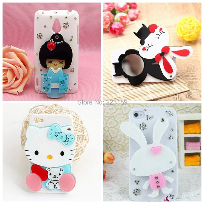 3d Cartoon rabbit /girls/kitty diamond luxury with mirror fashion style case cover for Lenovo A850 case free shipping(China (Mainland))