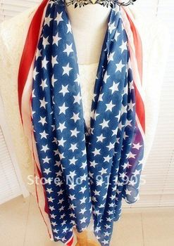 freeshipping  five-pointed star stripe scarf american flag silk scarf  The American flag silk prevent bask air condition shawl