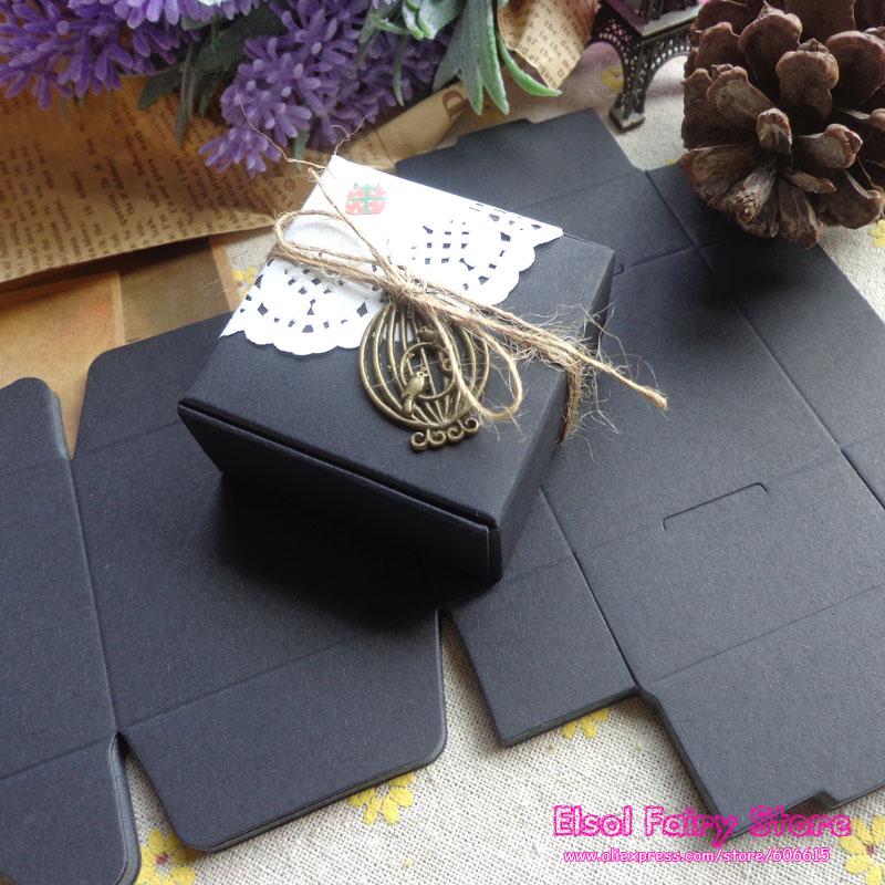 Wholesale (50pcs/lot) 70x70x30mm Candy Black Paper Box, Handmade Soap Box, Jewelry black candy cake party favor box 50pcs/lot(Hong Kong)
