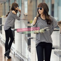 Fashion Women Sexy Casual Round Neck Batwing Long Sleeve Off Shoulder T Shirt Stripe Patchwork Tops