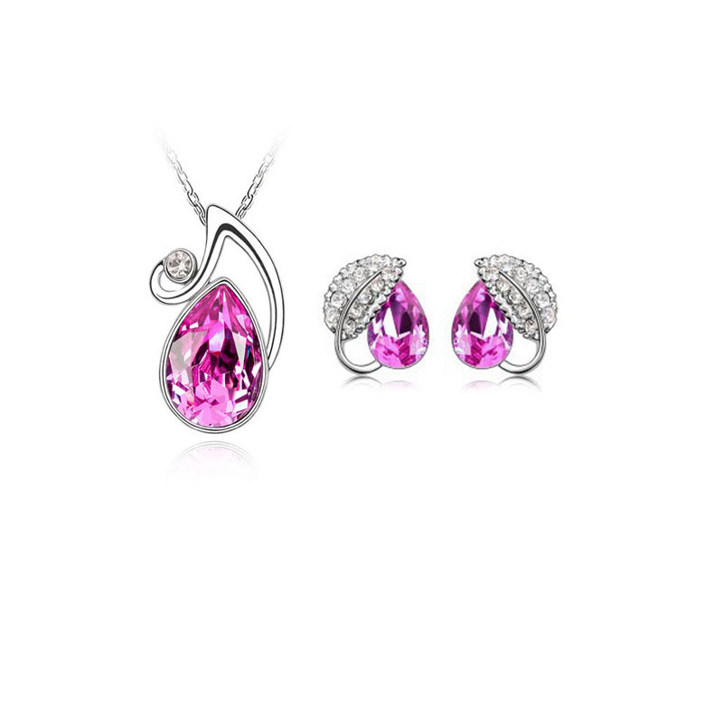 china supplier fashion jewelry, Austrian crystal drop pendant / necklace + earrings set 031059 - Jinghong Jewelry store