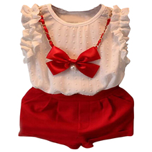 new year girls clothing sets T shirt short necklace baby girls clothes children clothing
