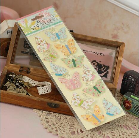 5 Sets of Vintage Floral 3D Butterfly Sticker Decorative Paper Craft Sticker Scrapbook Embellishments(China (Mainland))