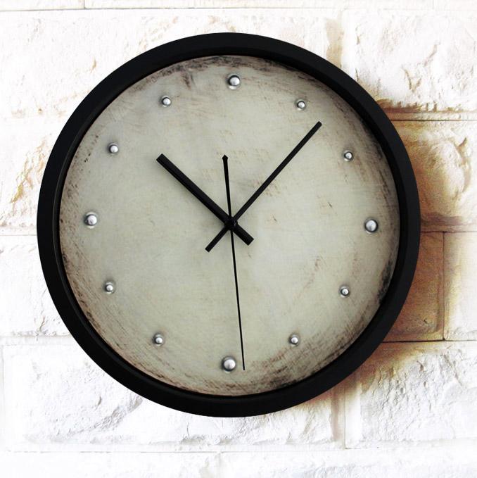 European minimalist 3D stereo wall clock,retro nostalgia silver rivets retro home decorative watch,high quality home  decoration