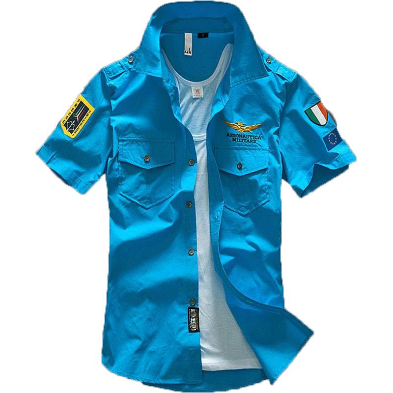 Fashion Airforce Uniform Military Short Sleeve Shirts Men
