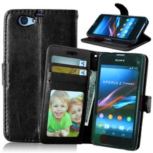 Original Phone Case for Sony Xperia Z1 Compact Z1 Mini D5503 M51W Luxury Flip Leather Wallet Case Card Holder Stand Back Covers