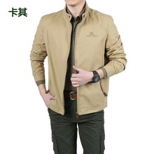 Sell AFS Jeep Men's Thin Jacket Outwear Stand Collar Zip Up Men's Summer Autumn Cotton Jacket M-4XL Free Shipping(China (Mainland))