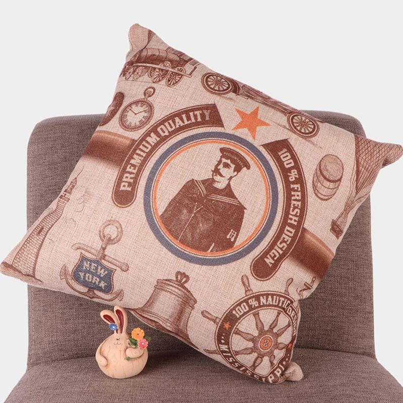 High Quality and Inexpensive Brown Cushion Cover Linen Cotton Printing Square Pillow Case For Sofa Customized Home Decoration(China (Mainland))