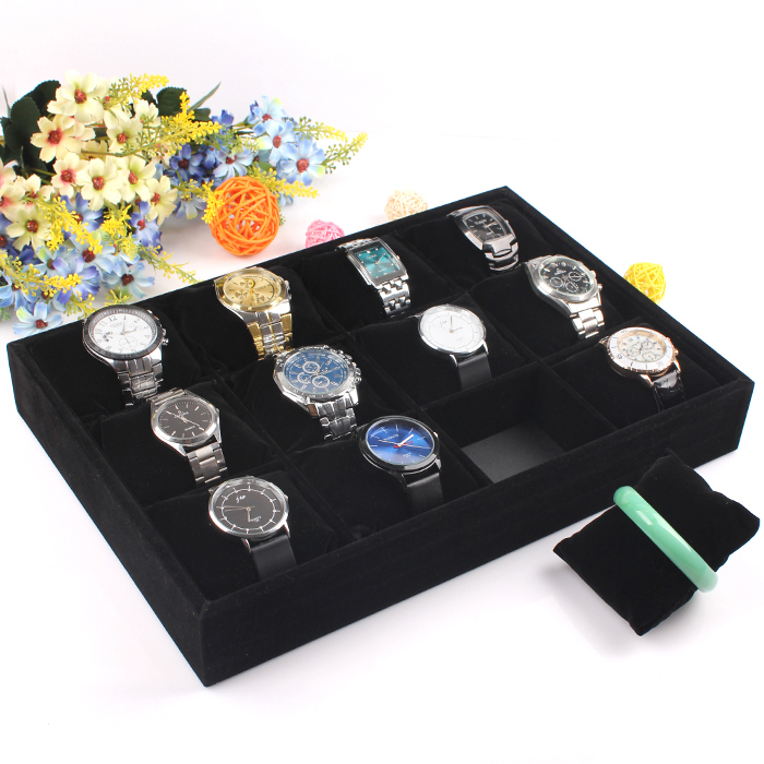 35*24CM Black 12 Grid Slots Jewelry Organizer Watches Display Watch Packaging Storage Box Case Gift box Free / Drop Shipping()