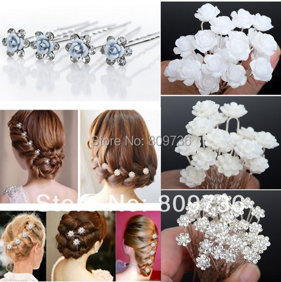 NEW 20/40pcs Lots Wedding Bridal Crystal Faux Pearl Flower Shiny Hair pins Hair Clips Fashion Women Jewelry Free(China (Mainland))