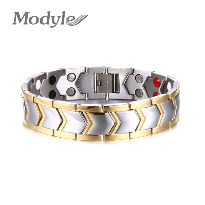 Modyle New Arrival 18K Gold Plated Titanium Health Magnet Bracelets Bangles For Men and Women(China (Mainland))