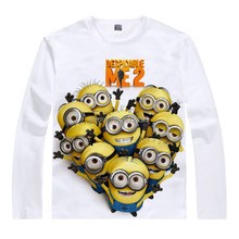Hot Sale Despicable Me the minions Milk cotton T-shirt in White, anime Tops Casual Tees Long O-Neck Shirt gift free shipping