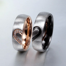 2016 New Fashion Love Heart Couple Rings for Women Men Wedding Engagement CZ Ring Unique(China (Mainland))