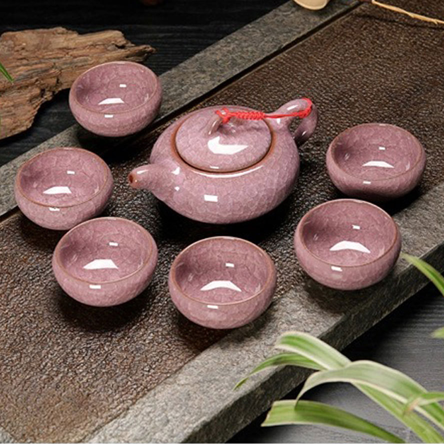 Purple Crystal Crackle Glaze Ceremic Tea Set for Kungfu Tea Making 7pcs set