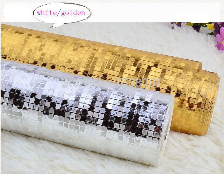 Mini Mosaic Tiles Luxury Metallic Design Glitter Silver/gold foil wallpaper roll simulation of lattice wall paper(China (Mainland))