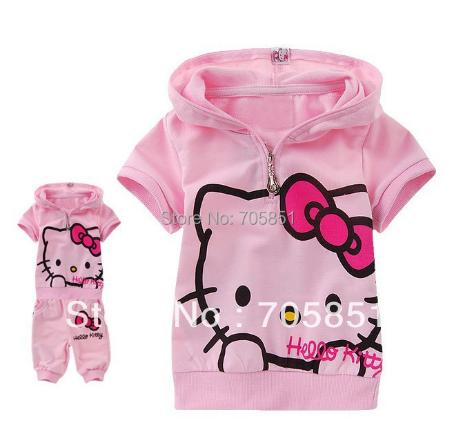 Best Quality Very Beautiful Children Suit Baby Girl's Hello Kitty Short Sleeve Set(China (Mainland))