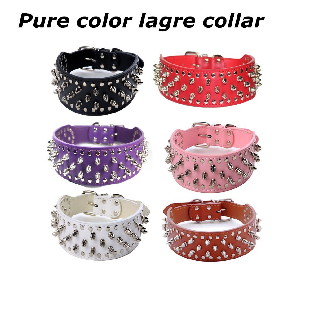 Pet Supplies Hot Sell Big Dogs Collar Pure Color with Rivet PU Leather Dog Cat Harness and Leashes 6 Colors XS/S/M/L(China (Mainland))