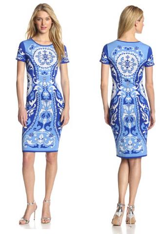 Free DHL Ship EMILIO PUCCX Vintage Blue Print New Jersey Dress S to XXL(China (Mainland))