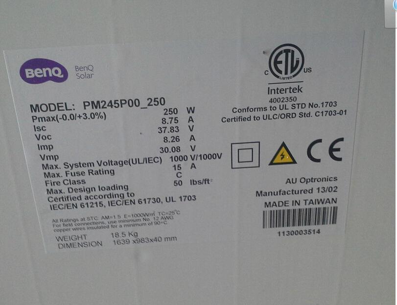 Solar panels 250w watt monocrystalline solar module A -level Taiwan imports all- black photovoltaic panels(China (Mainland))