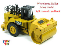 Genniue Heavy-duty wheel road roller alloy model toy, 1:50 Construction vehicles, sound/light/pull back function + free shipping