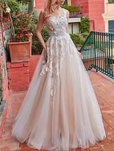 Классические свадебные платья цвета шампанского с аппликацией трапециевидной формы, длина до пола 2020, Vestido de Noiva, кружевные свадебные платья...(China)