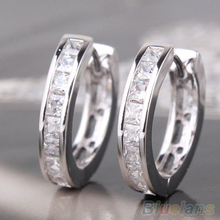 Fashion  Silver Plated Small Round Square Crystal Hoop Huggie Earrings Men 1PGB(China (Mainland))