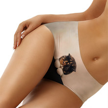 Buy Women Thongs G Strings Sexy Woman 3D Cute Kitten Print Panties Briefs New Tattoo Underwear One Pieces Seamless Inner Pant