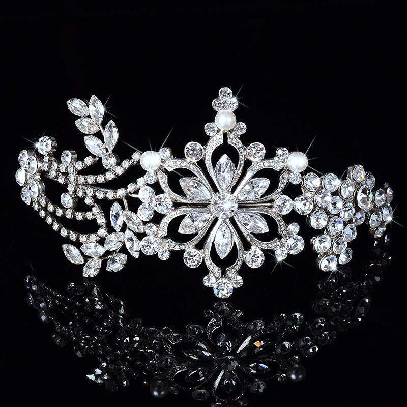 Flower Rhinestone Crystal Elegant Wedding Tiaras For Bridal Bridesmaid Hair Combs Crown Evening Headband Barrette DFJ156149(China (Mainland))